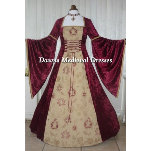 Renaissance Medieval Burgundy Velvet  Dress